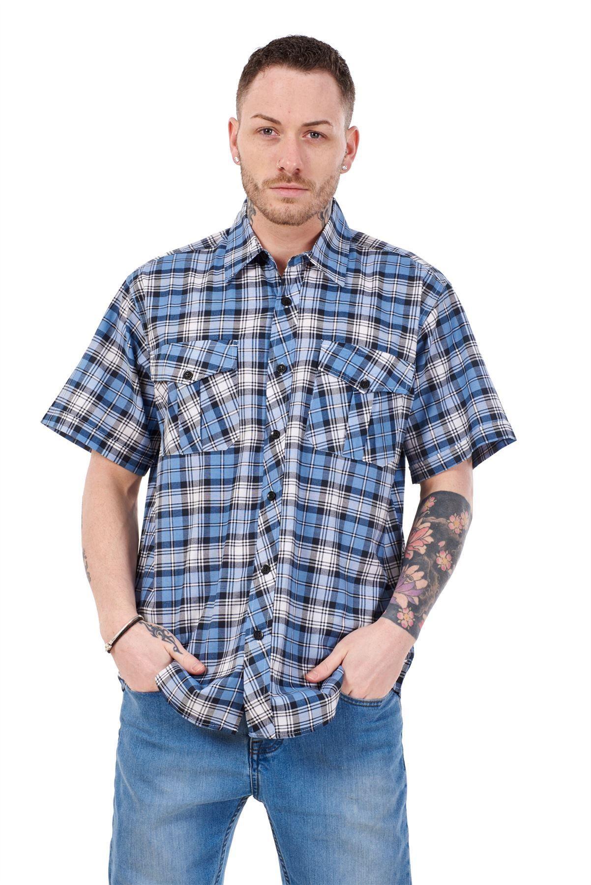 Mens-Regular-Big-Size-Shirts-Checked-Cotton-Blend-Casual-Short-Sleeve-Blue-M-5XL thumbnail 32