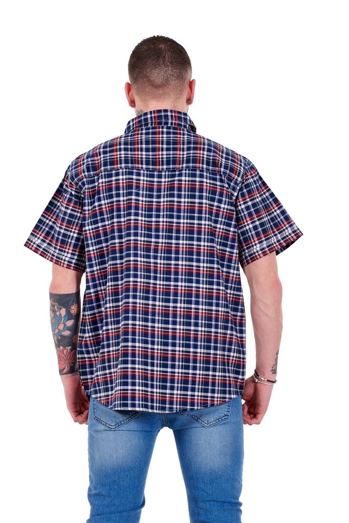 Mens-Regular-Big-Size-Shirts-Checked-Cotton-Blend-Casual-Short-Sleeve-M-to-5XL thumbnail 20