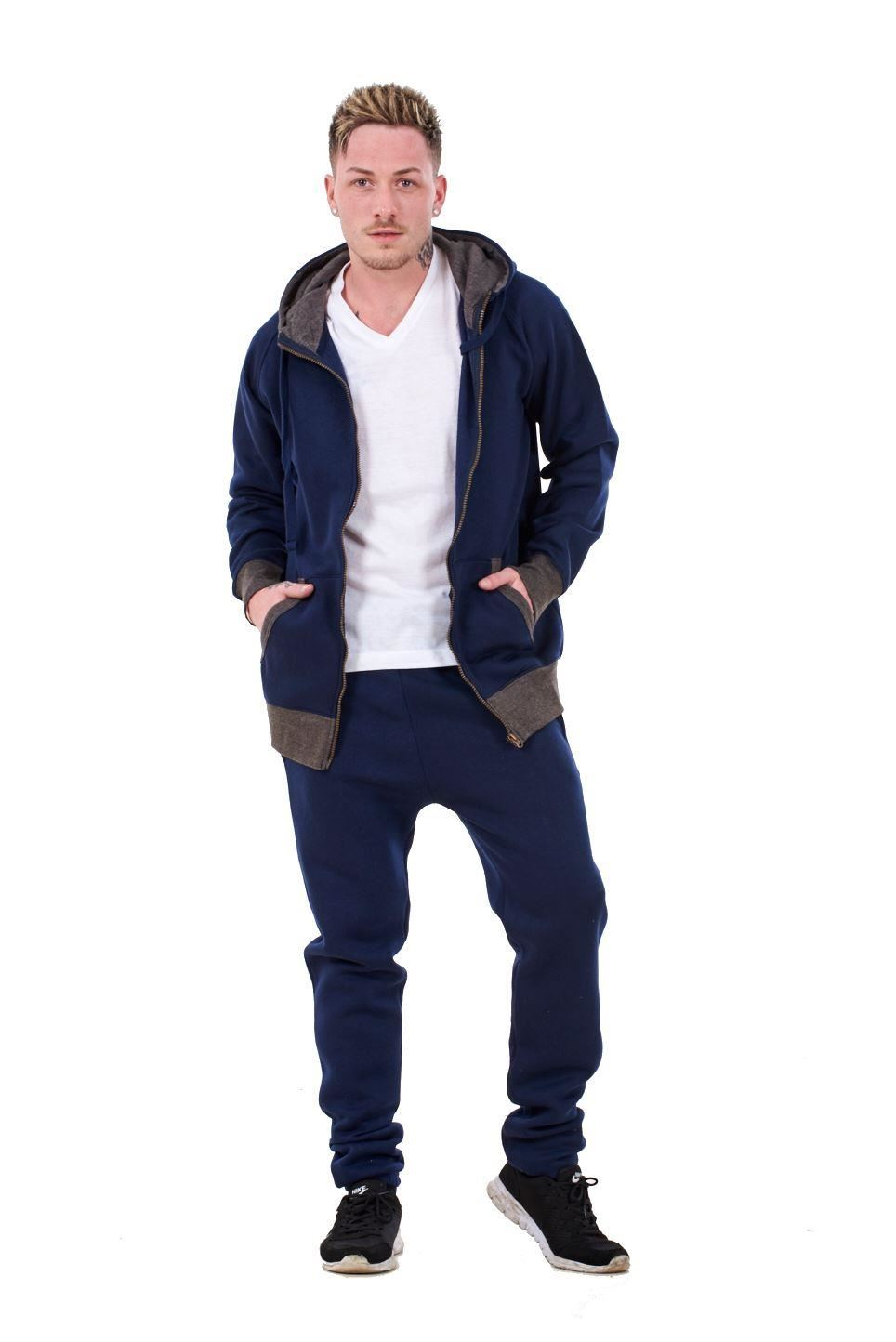 New-Mens-Tracksuit-Branded-Fleece-Hooded-Zipper-Cotton-Jogging-Bottoms-S-to-XXL thumbnail 12