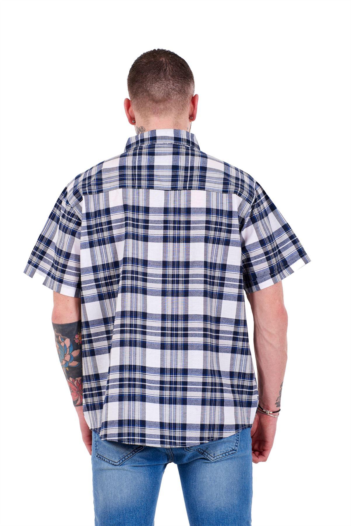 Mens-Regular-Big-Size-Shirts-Checked-Cotton-Blend-Casual-Short-Sleeve-M-to-5XL thumbnail 11