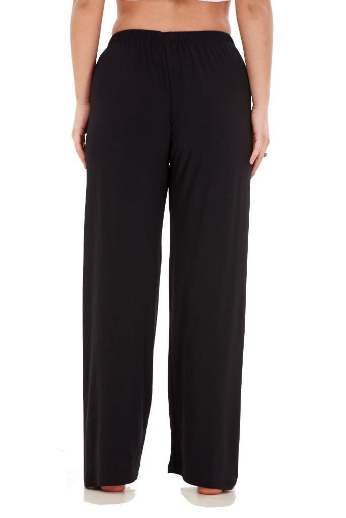 Ladies-Women-Trouser-Elasticated-wide-leg-High-waist-ITY-Regular-Pants-Black-Red thumbnail 9