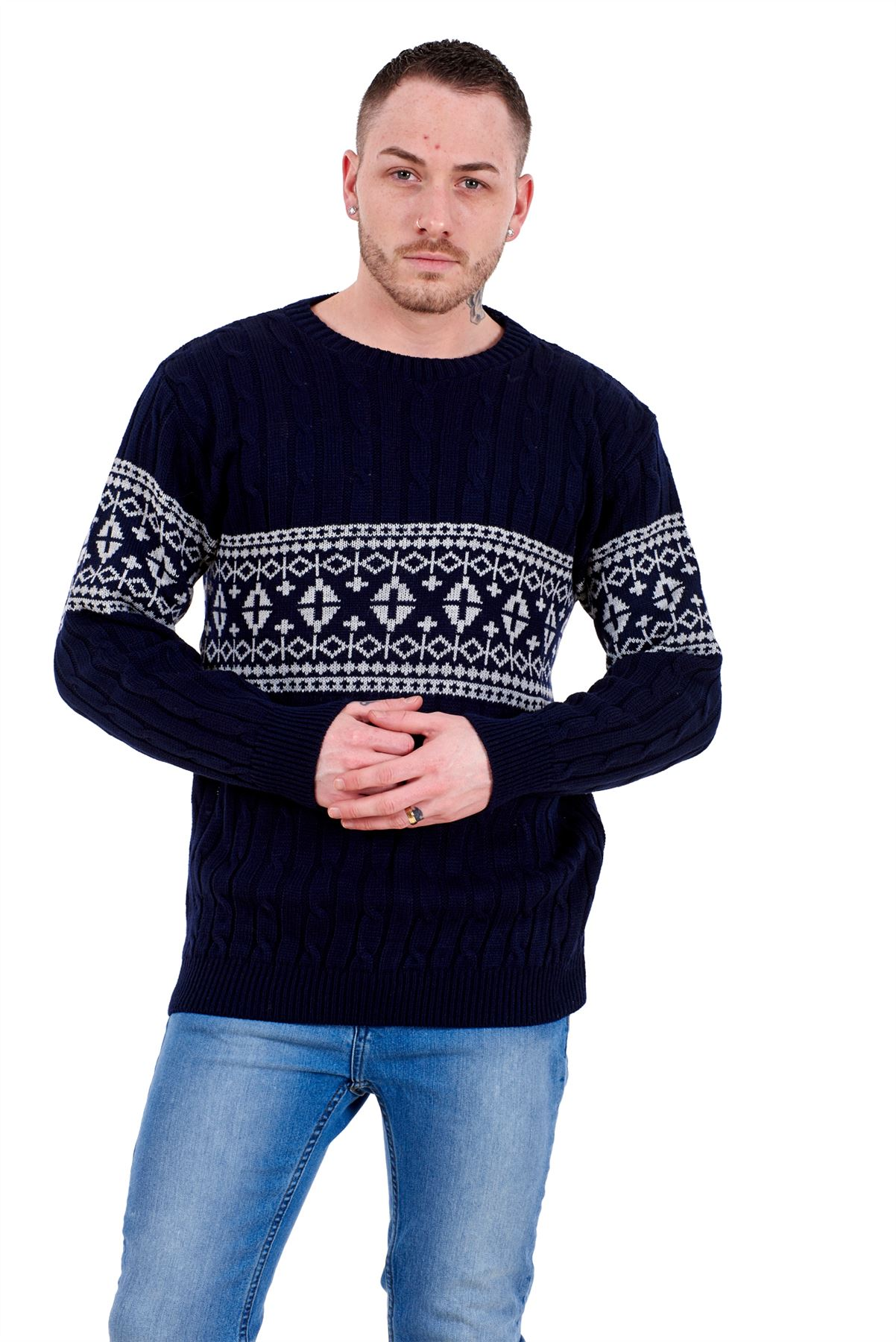 Mens-New-Cable-Knit-Jacquard-Long-Sleeve-Pullover-Jumper-Sweater-S-to-XL thumbnail 19