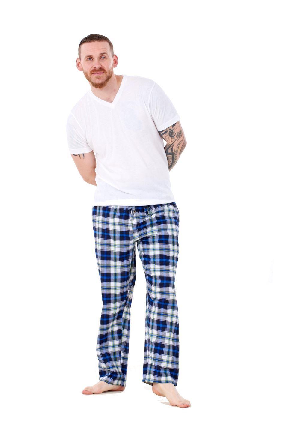 Mens-Pyjama-Bottoms-Rich-Cotton-Woven-Check-Lounge-Pant-Nightwear-Big-3XL-to-5XL Indexbild 46