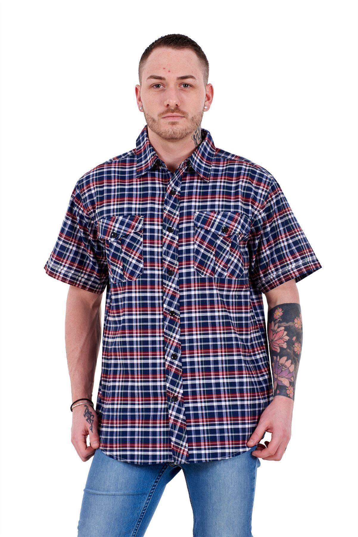 Mens-Regular-Big-Size-Shirts-Checked-Cotton-Blend-Casual-Short-Sleeve-M-to-5XL thumbnail 19