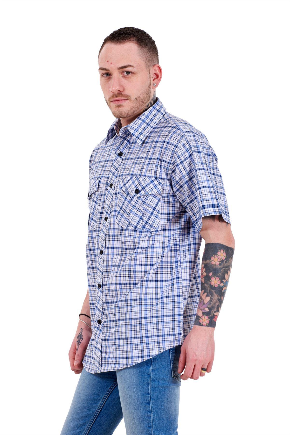 Mens-Regular-Big-Size-Shirts-Checked-Cotton-Blend-Casual-Short-Sleeve-M-to-5XL thumbnail 3