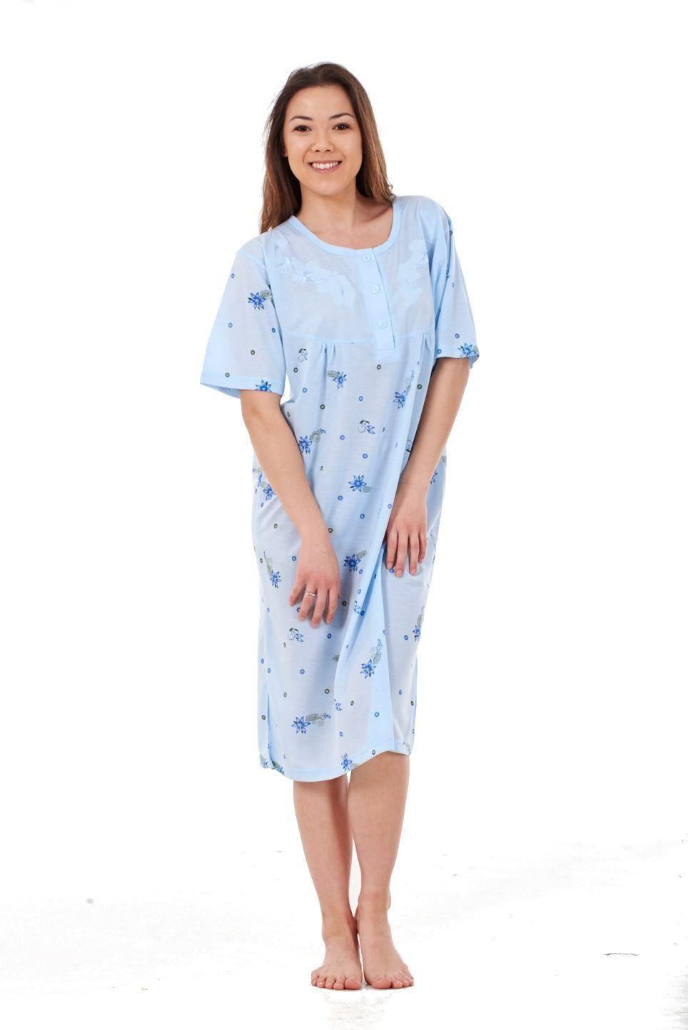 Ladies-Nightwear-Floral-Print-Short-Sleeve-Women-Rich-Cotton-Nightshirt-M-to-2XL