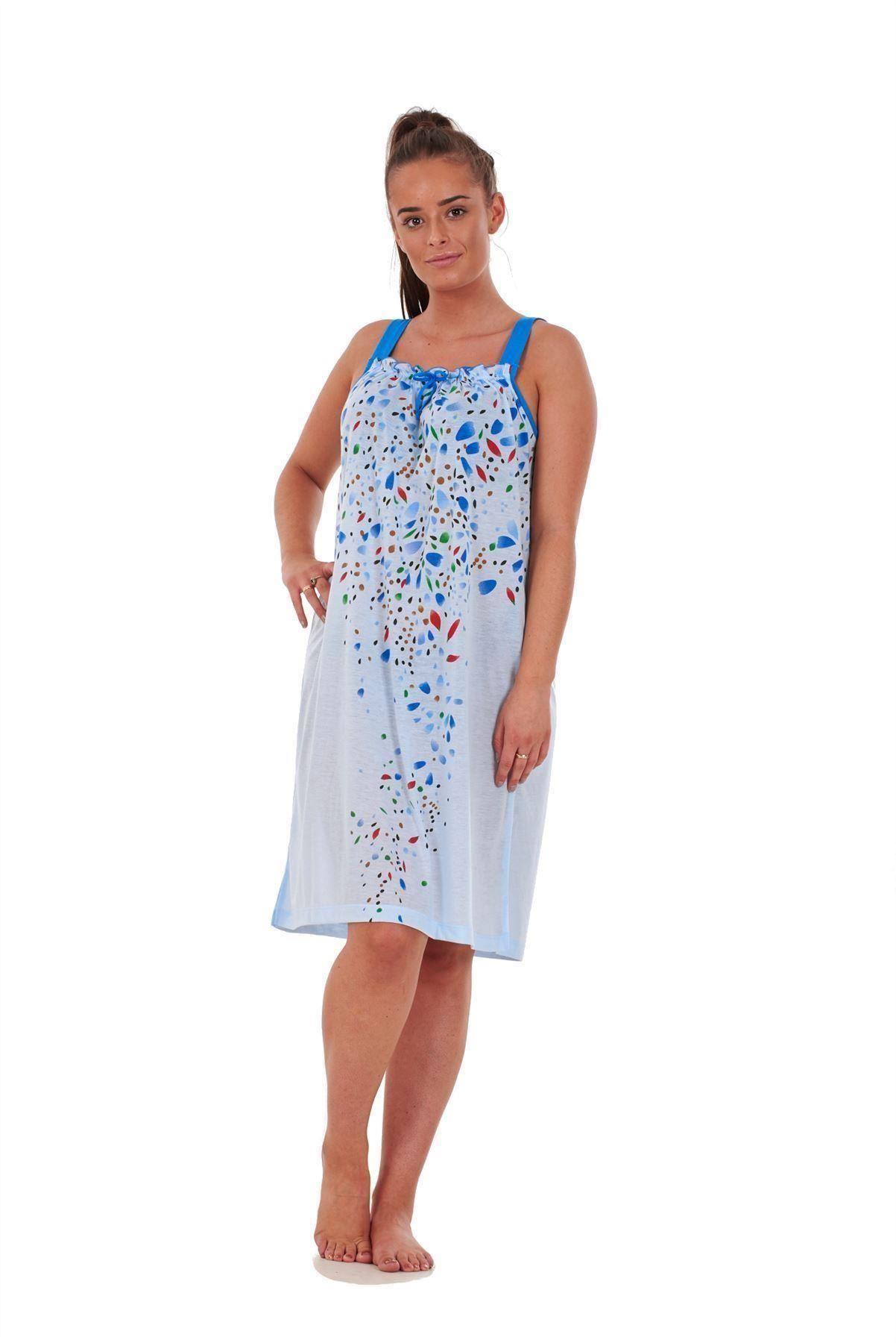 73594efc31 Ladies 100% Cotton Sleeveless Nightwear Floral Summer Short ...