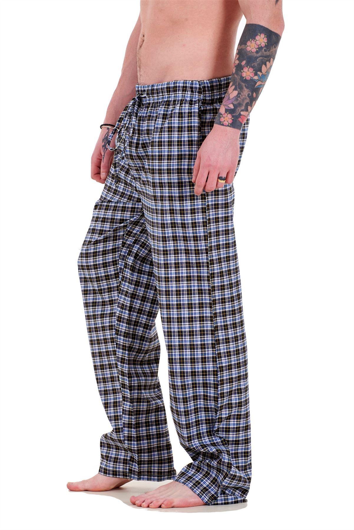 Mens-Pyjama-Bottoms-Rich-Cotton-Woven-Check-Lounge-Pant-Nightwear-Big-3XL-to-5XL Indexbild 5