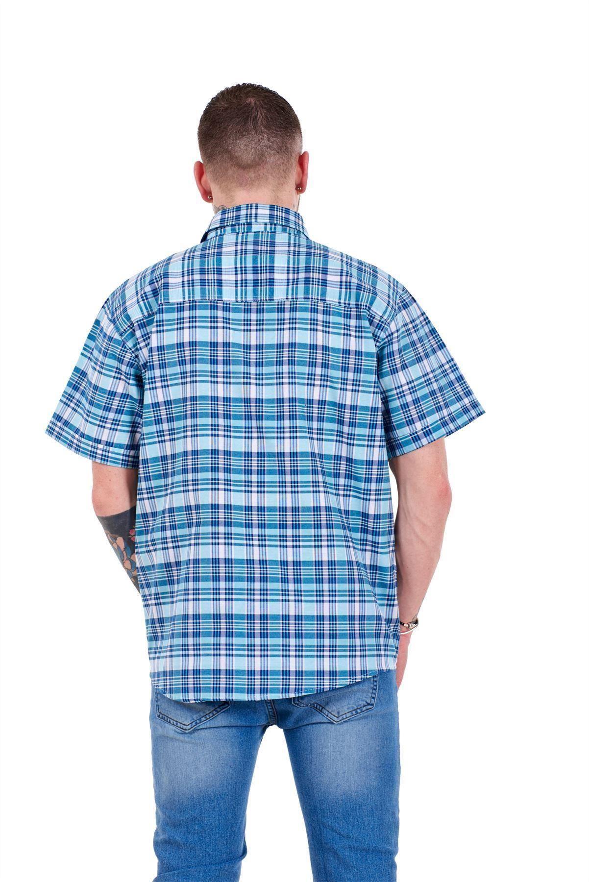 Mens-Regular-Big-Size-Shirts-Checked-Cotton-Blend-Casual-Short-Sleeve-M-to-5XL thumbnail 31