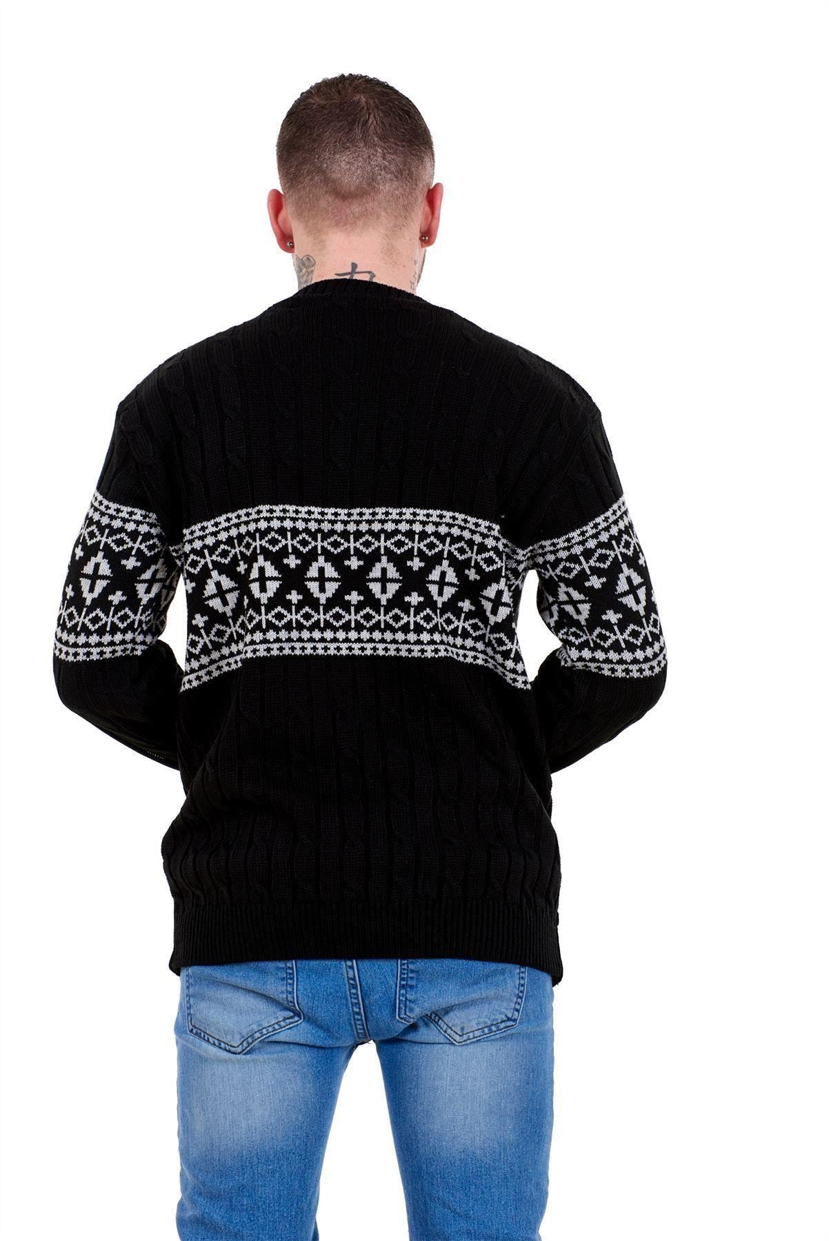 Mens-New-Cable-Knit-Jacquard-Long-Sleeve-Pullover-Jumper-Sweater-S-to-XL thumbnail 3
