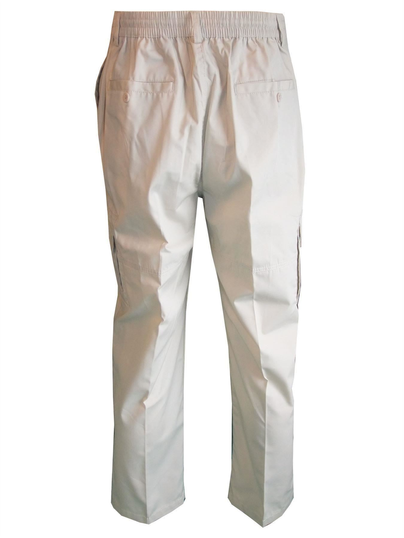 Men-Straight-Trousers-Cargo-Combat-Cotton-Elasticated-Zip-Fly-Casual-Pants-M-3XL thumbnail 16
