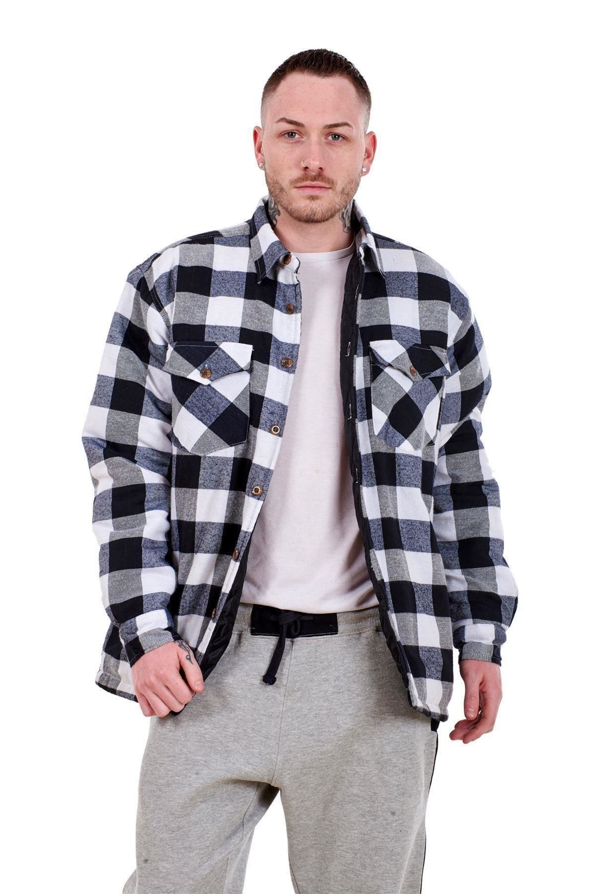 Para Hombre Franela Camisa De Trabajo Acolchada hilado