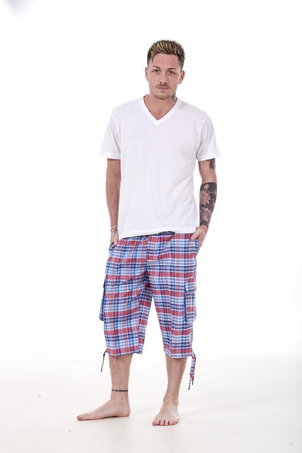 Mens-Check-Shorts-3-4-Length-by-Malay-Apparel-Cotton-Blend-Lounge-Casual-Wear thumbnail 40