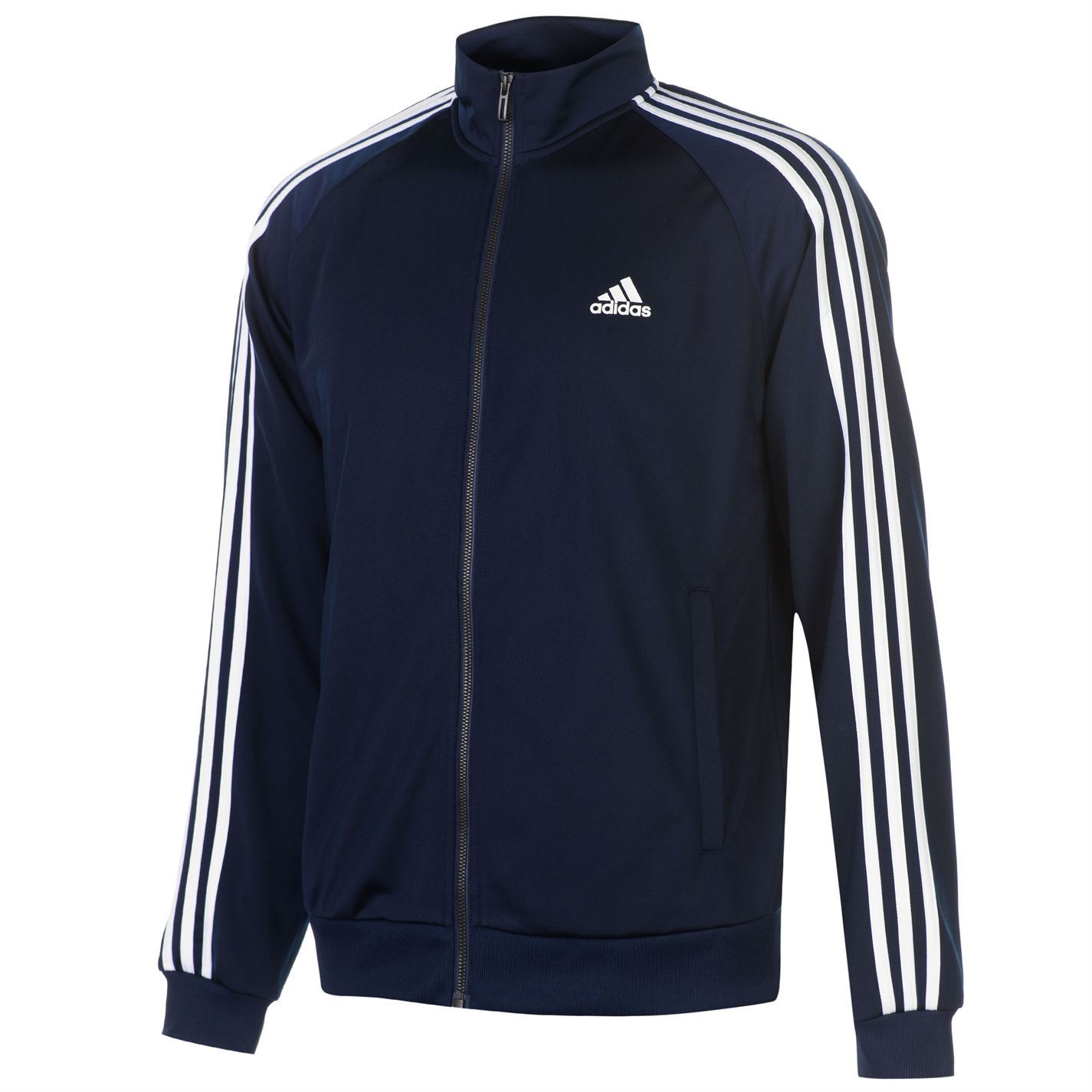 ec0fda67ef83 The adidas Essential 3 Stripe Track Top is designed with a full zip  fastening