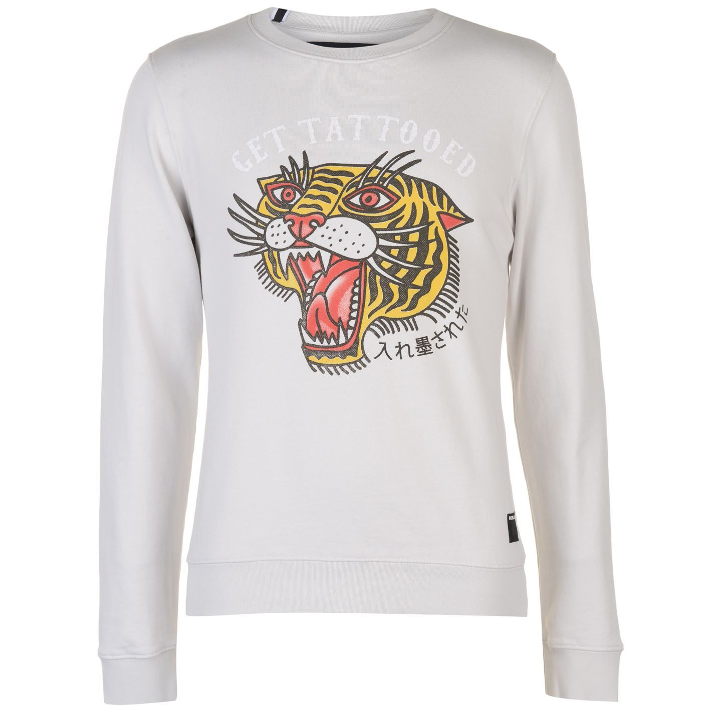 Mens-Replay-Tiger-Print-Sweater-Crew-Long-Sleeve-New