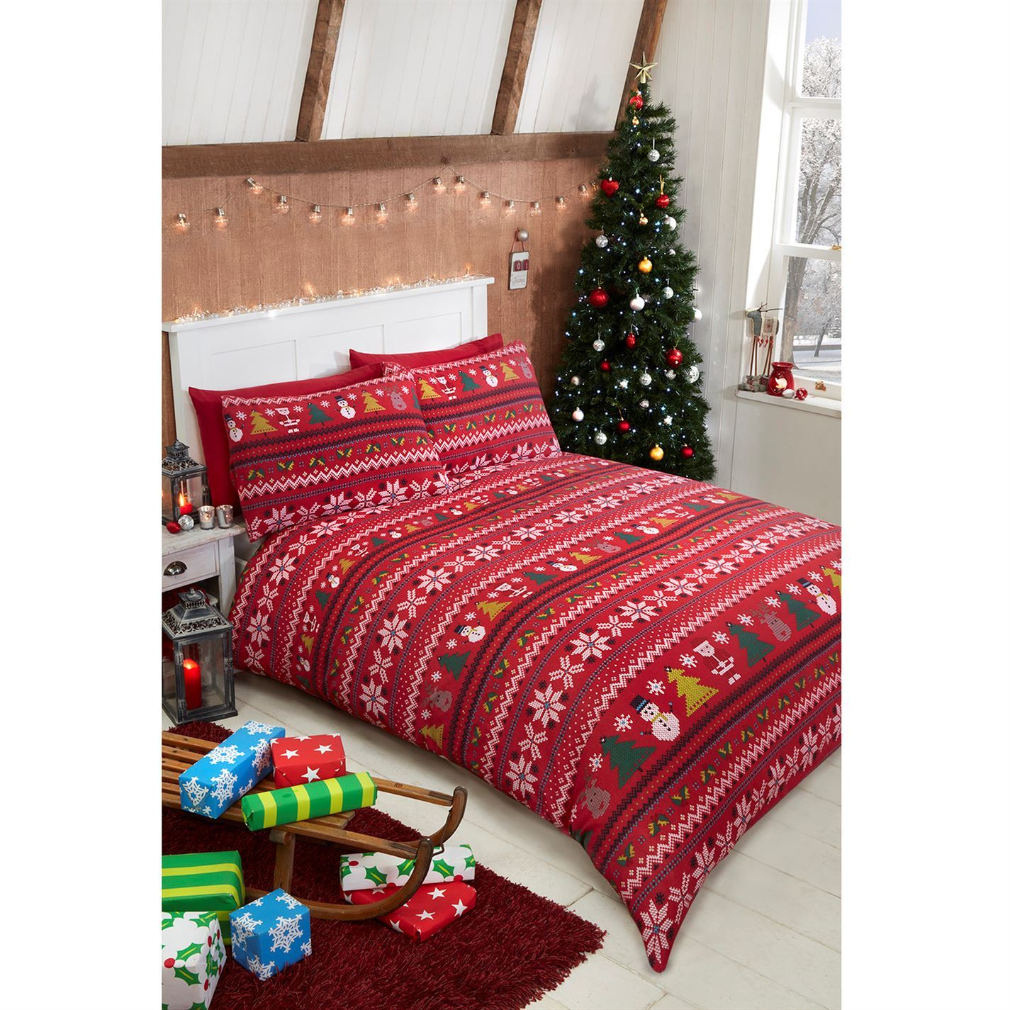 The Spirit Of Christmas Unisex Fairisle Print Flannel Duvet Cover ...