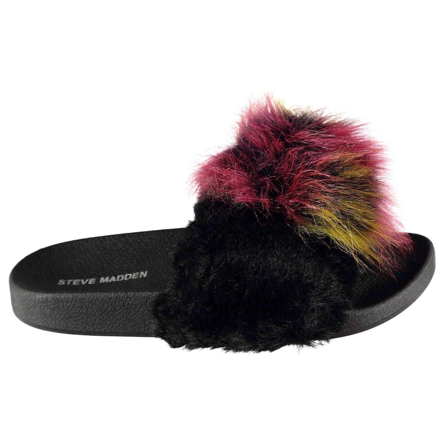 023455b49ae Details about Womens Steve Madden Fur Mule Sliders Flip Flops Slip On  Textured New
