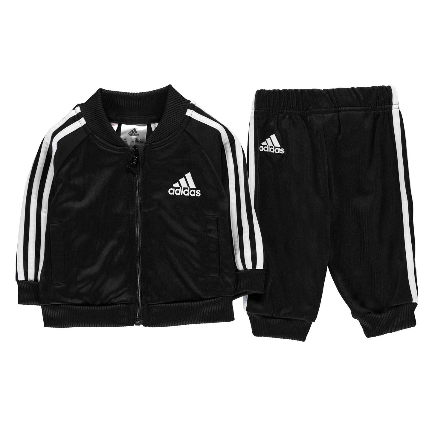 a3bdb7d8b6ee adidas Kids Boys 3 Stripe Tracksuit Baby Poly Zip Full Drawstring  Elasticated