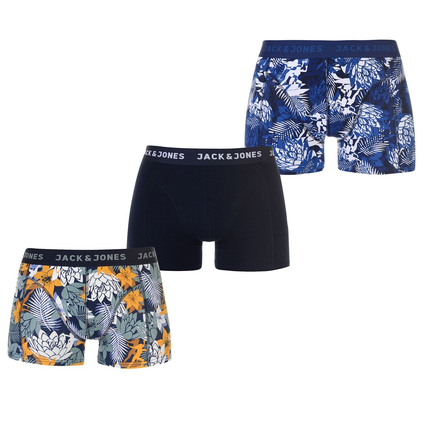 Jack-and-Jones-Mens-Flowers-Pack-of-3-Trunks-Boxers-Underwear-Stretch-Stretchy