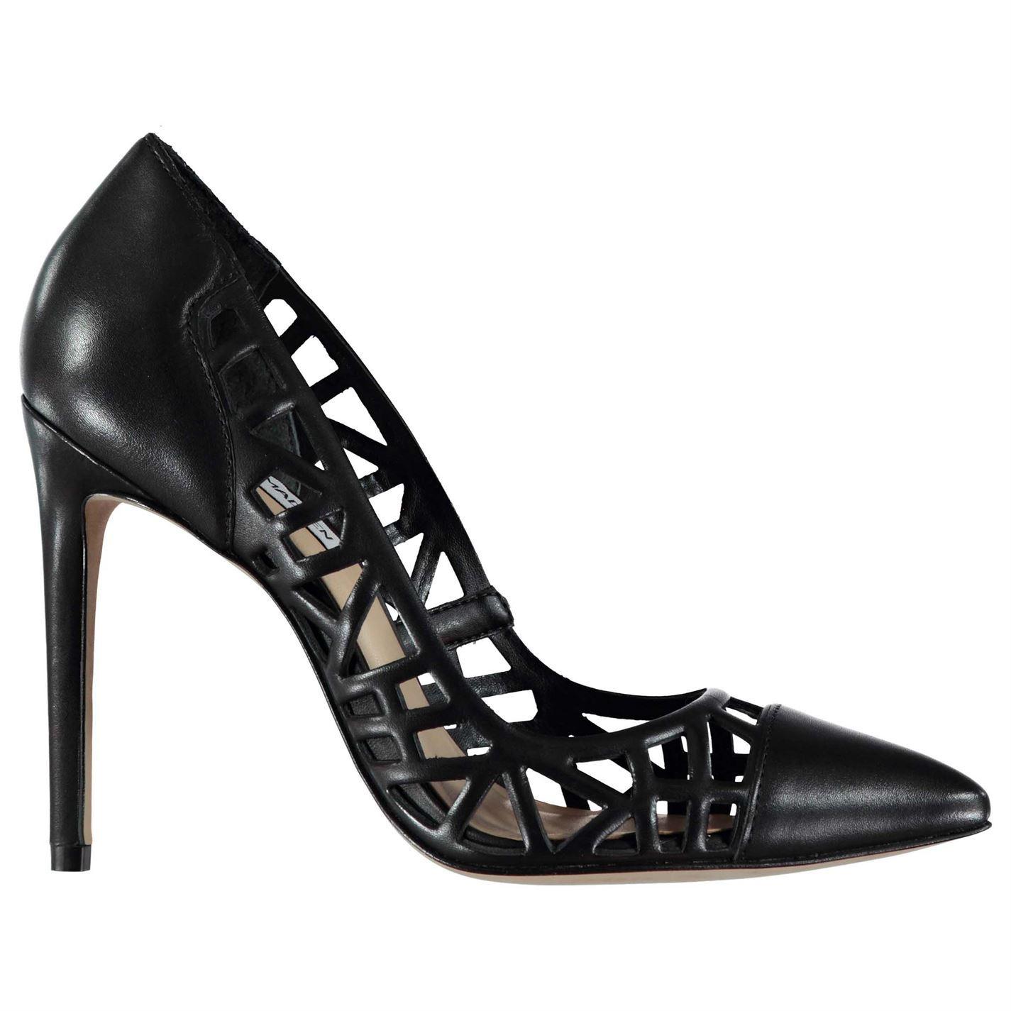 Steve Madden Damenschuhe Princess Heels Slip On Schuhes Tonal Stitching Cut Out Leder