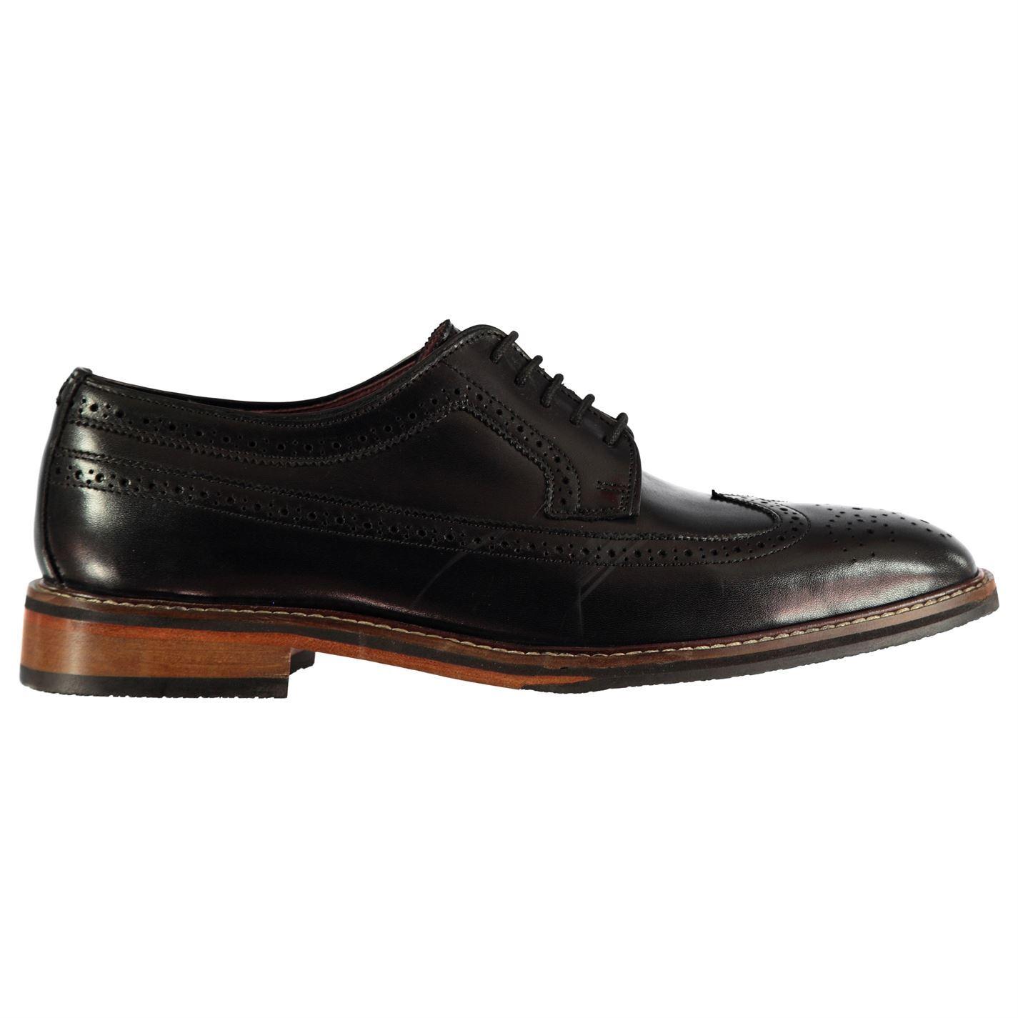 Firetrap Negroseal Hampshire Hampshire Hampshire Brogue Zapatos para hombre Cuero Calado Con Cordones costura tonal 4f01eb