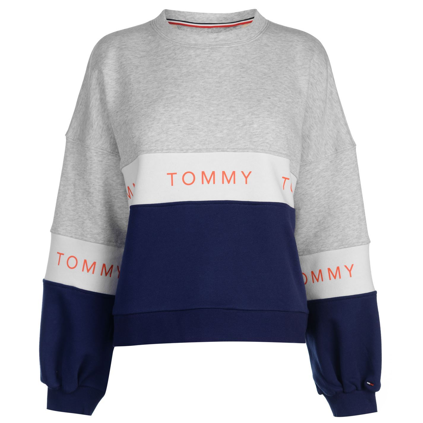 5c9e999a1 Image is loading Womens-Tommy-Jeans-Tri-Colour-Sweatshirt-Crew-Sweater-