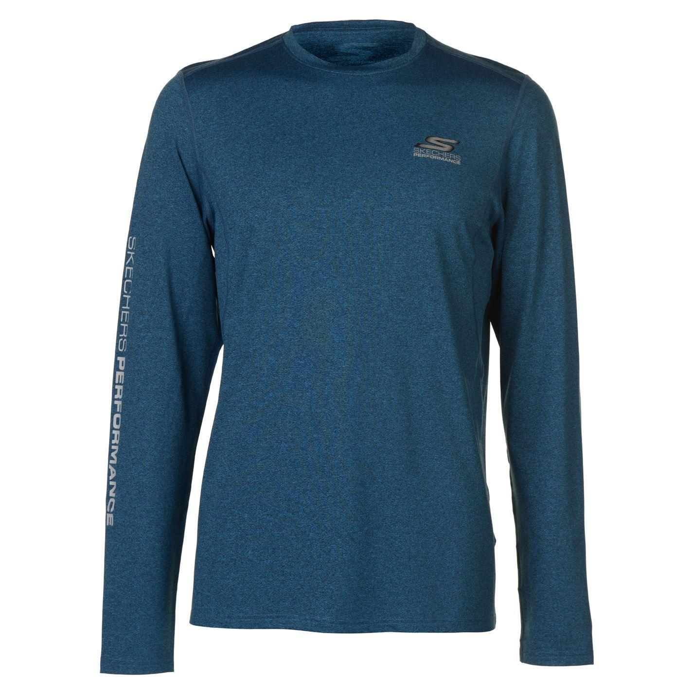 Skechers-Mens-Spin-Camiseta-mangas-largas-Top-de-cuello-redondo-impresion-de-bloque-ligero miniatura 3