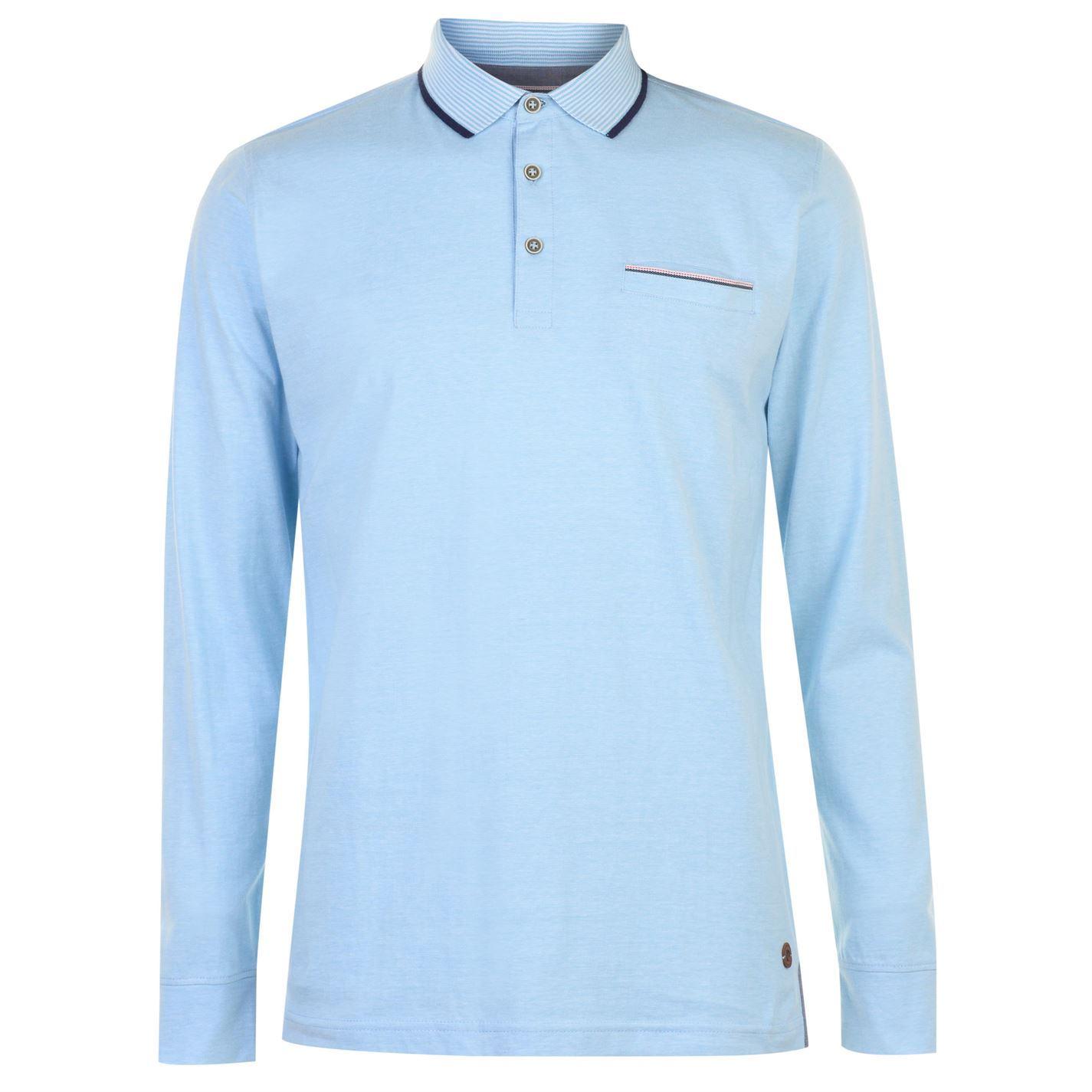 Pierre cardin mens long sleeve yarn dye polo shirt top for Men s lightweight long sleeve polo shirts