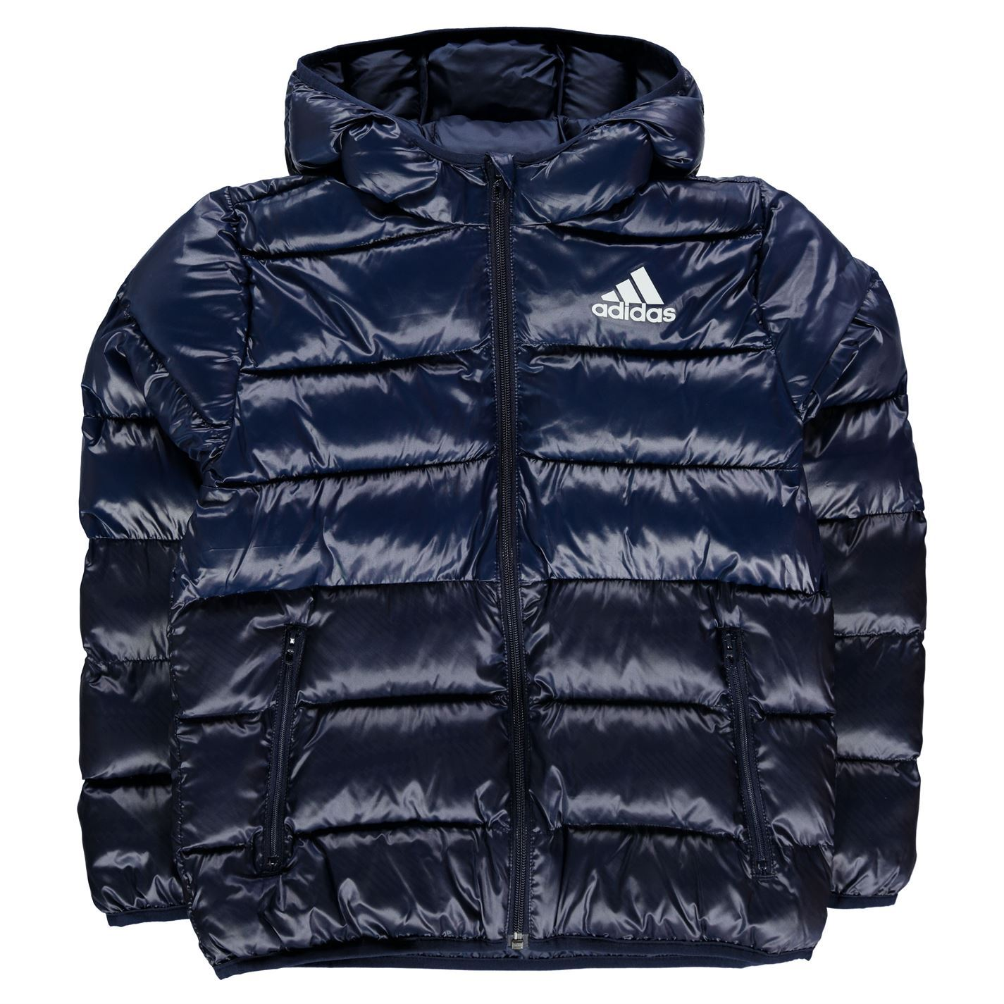 Adidas Kids Boys Padded Jacket Junior Coat Top Hooded Zip