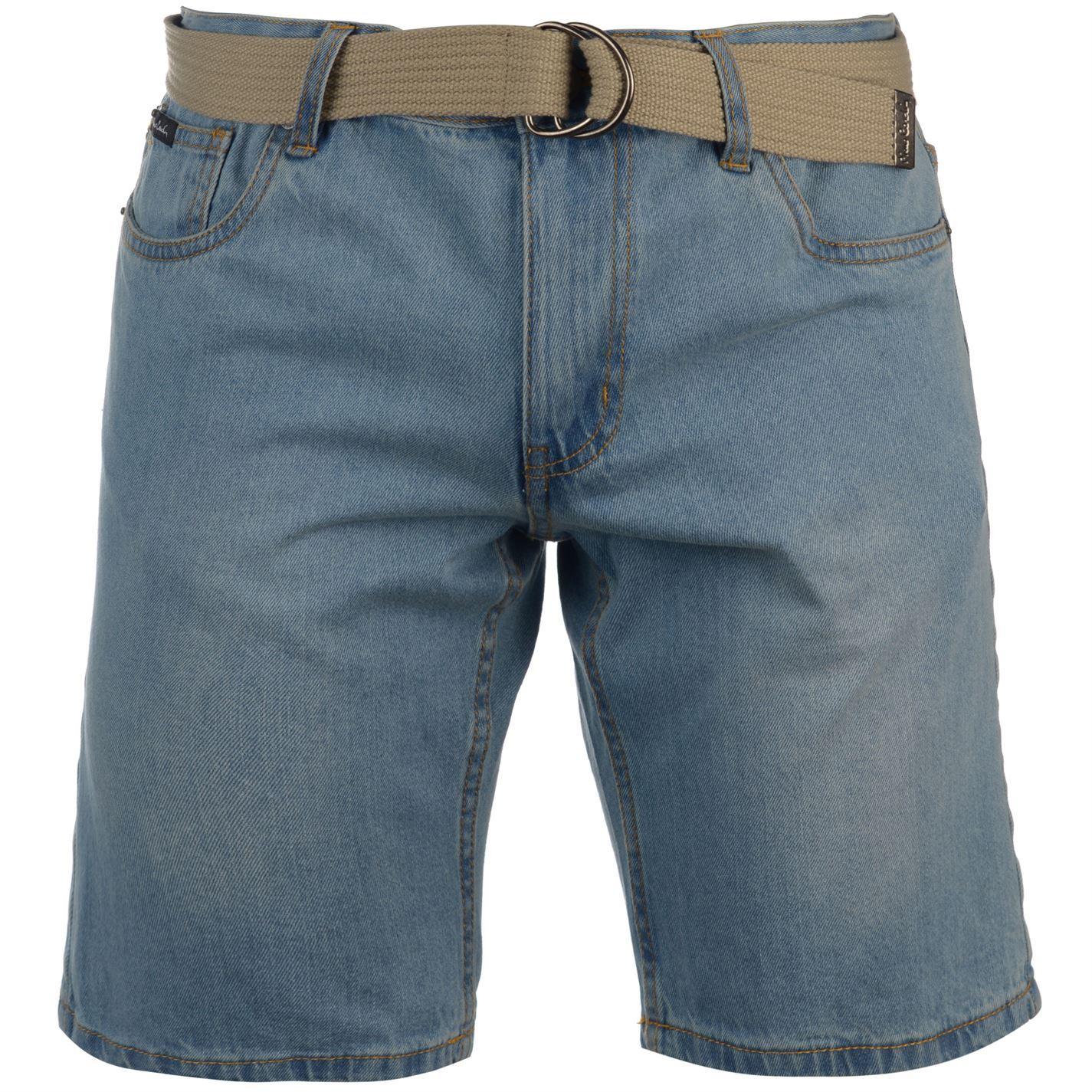 Pierre-Cardin-Mens-Denim-Web-Belt-Shorts-Pants-Trousers-Bottoms-Cotton-Regular