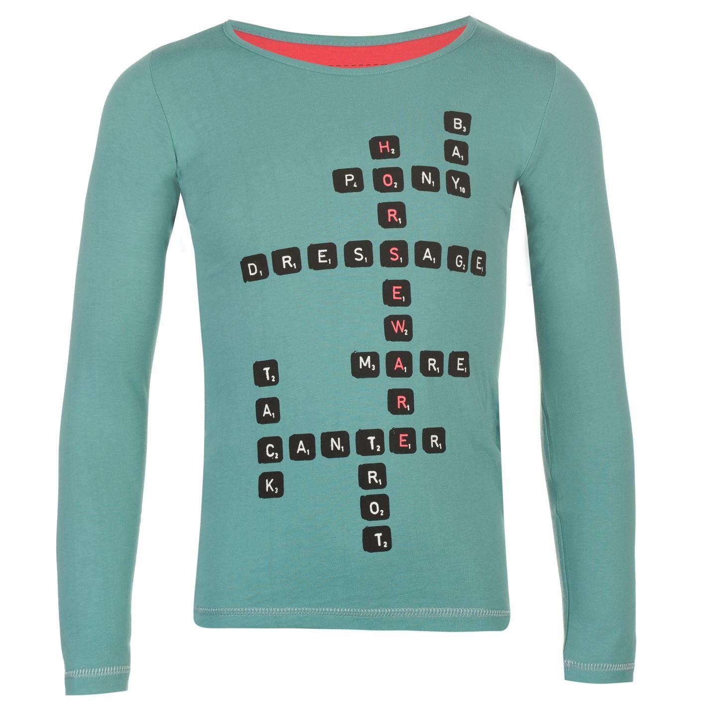 505f212b2079 Horseware Childrens Girls Long Sleeve Tee Shirt Top Graphic Stamp ...