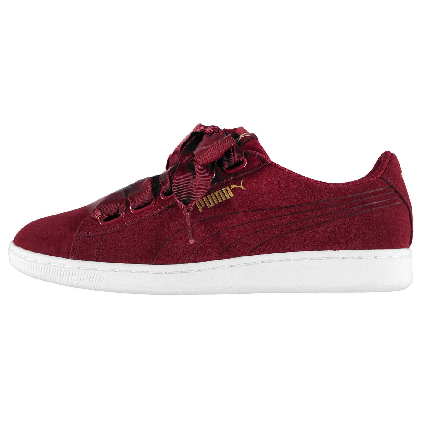 9a7e8e1aebd8 Puma Womens Vikky Ribbon Trainers Sneakers Shoes Lace Up Padded ...