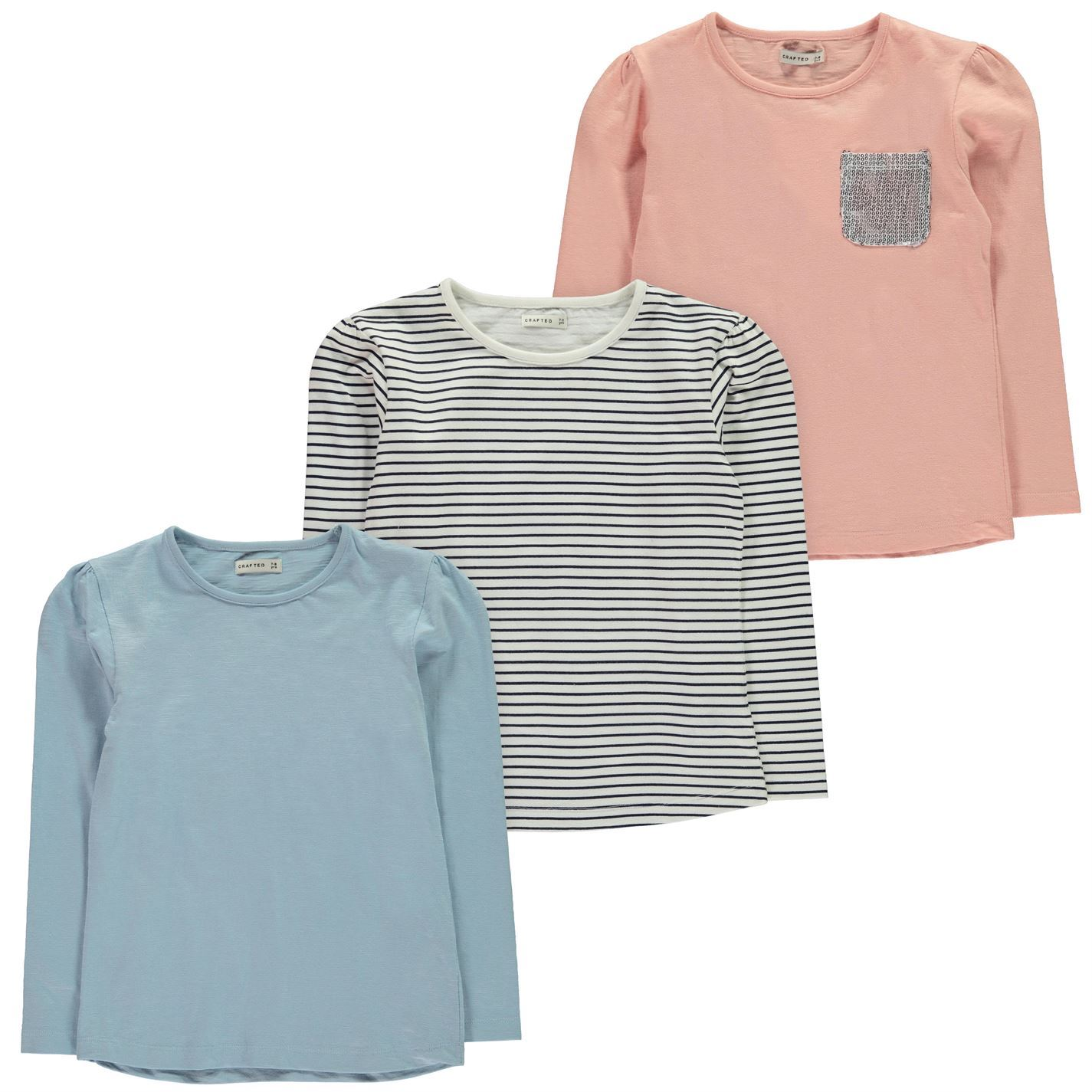 53f5fb314 Crafted Kids Girls Pack of 3 T Shirt Infant Long Sleeve Tee Top Round ...
