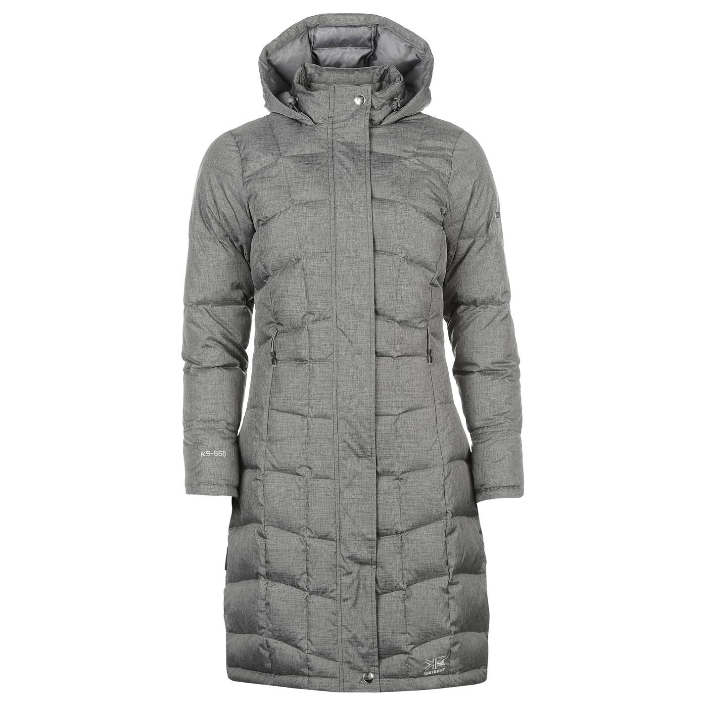 c6ce2c73820 Karrimor Long Down Jacket Ladies Bringing pure style in pure comfort, the  Karrimor Long Down Jacket features a full zip fastening with chin guard and  popper ...