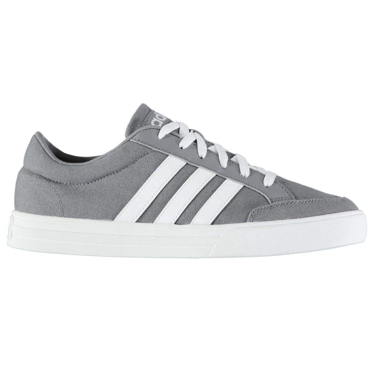 adidas mens vs set canvas trainers lace up shoes tonal