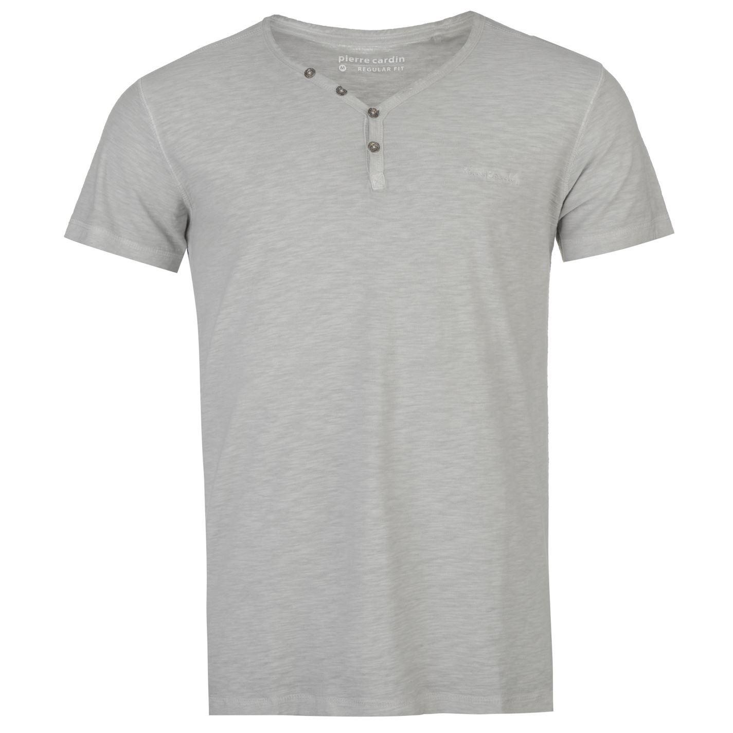 pierre cardin mens short sleeve henley t shirt grandad. Black Bedroom Furniture Sets. Home Design Ideas