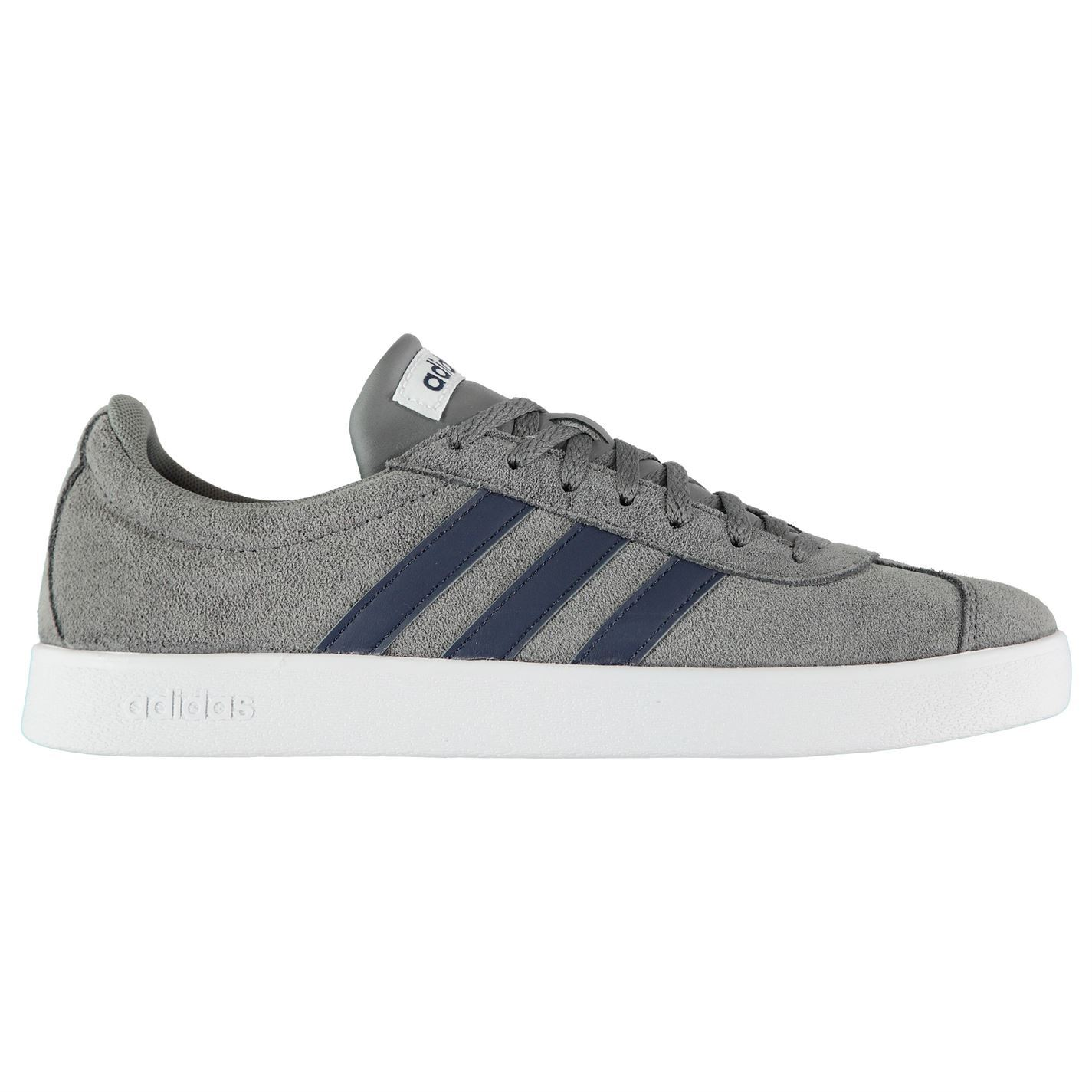 adidas Mens VL Court 2 Shoes Suede Trainers Lace Up Cushioned Ankle Collar