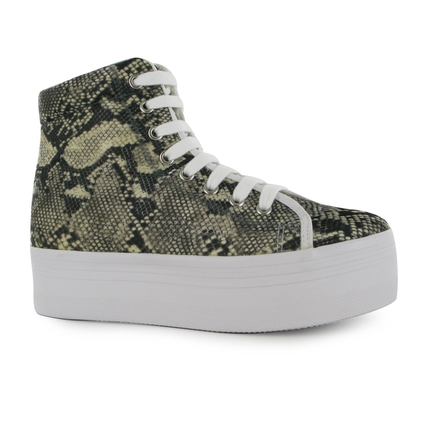 Jeffrey Campbell Womens Play Homg Snake Platform Shoes Lace Up Ladies