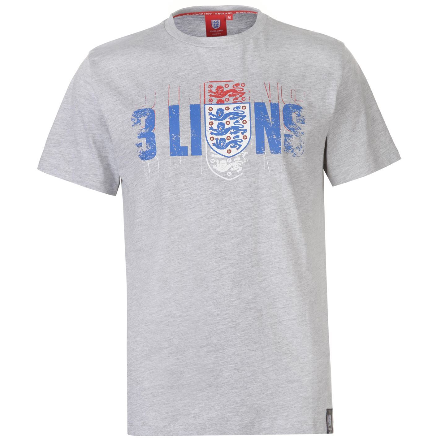 FA England 3 Lions T Shirt Mens Gents Crew Neck Tee Top Short Sleeve 360 Spin