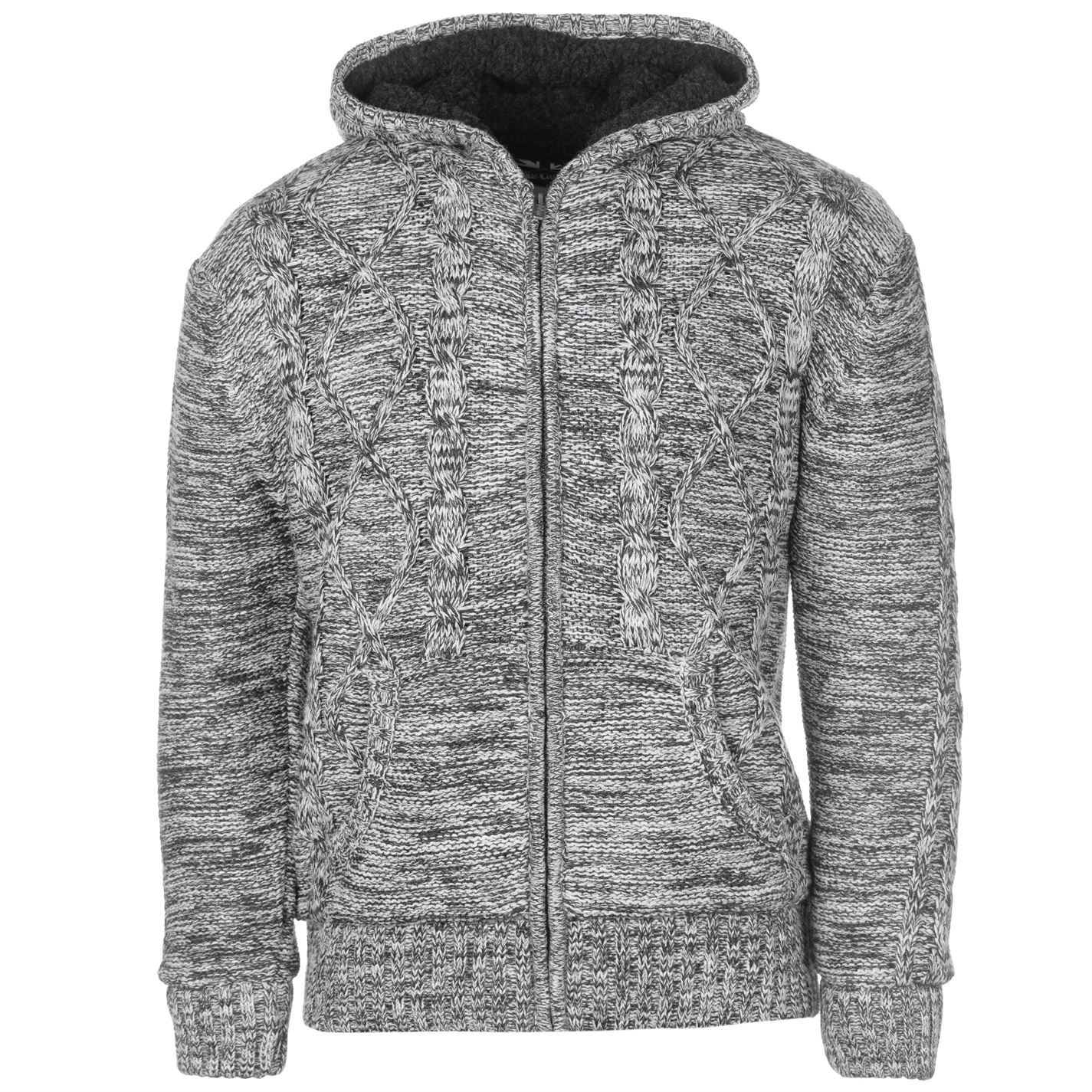 5cca10d14d Details about Lee Cooper Mens Hooded Lined Knitted Cardigan Knitwear Jumper  Top Long Sleeve
