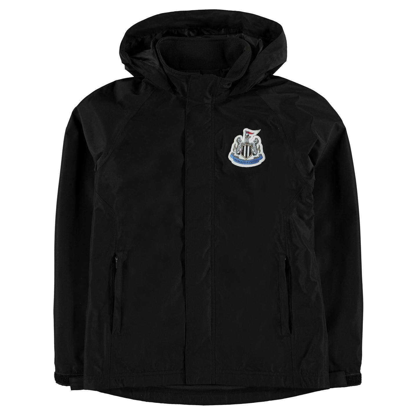 m Kids Boys Newcastle United Rain Jacket Junior Coat Top Long Sleeve Chin