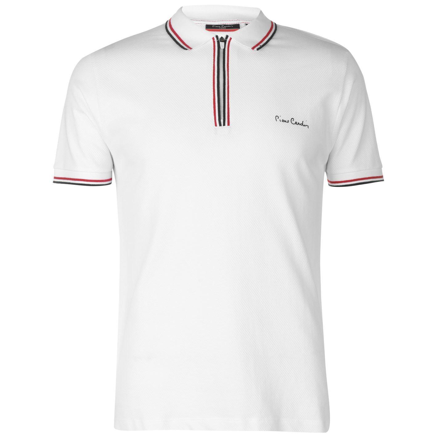Pierre Cardin Mens Jacquard Zip Polo Shirt Classic Fit Tee Top Short