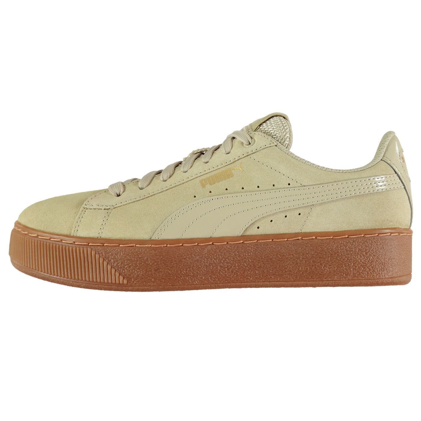 e9c34b5aae5 Details about Puma Womens Vikky Suede Platform Trainers Lace Up Comfortable  Fit Tonal