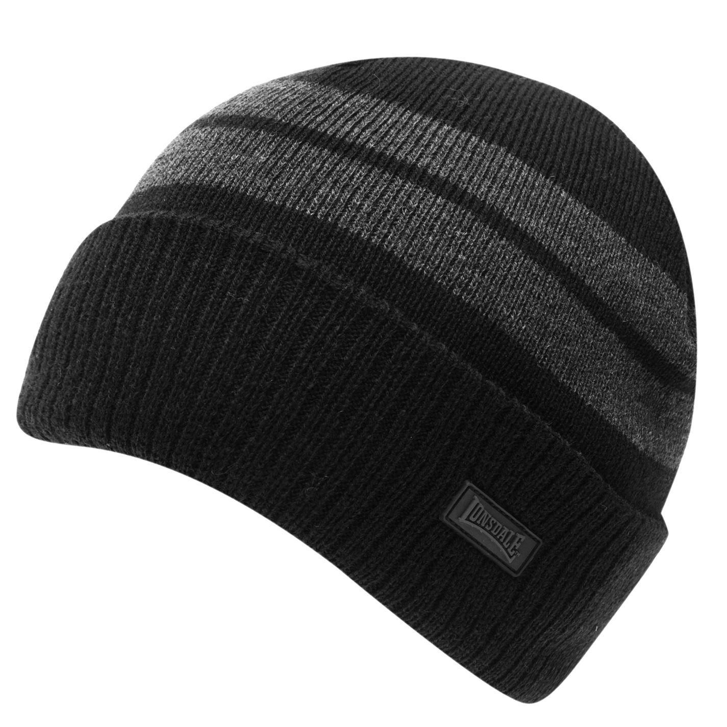 Lonsdale Kids Boys Turn Up Hat Junior Beanie Pattern Stripe Winter Knitted 684c3a9ebd3