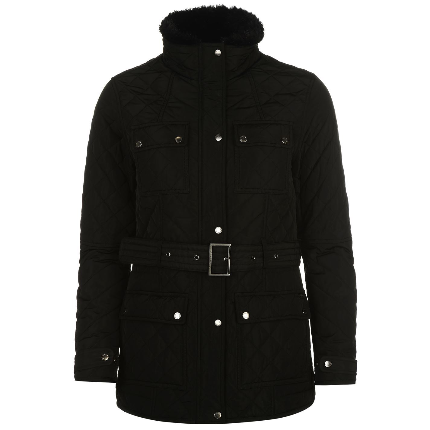 Firetrap-Womens-Blackseal-Kingdom-Jacket-Quilted-Coat-Top-High-Neck-Zip-Chest
