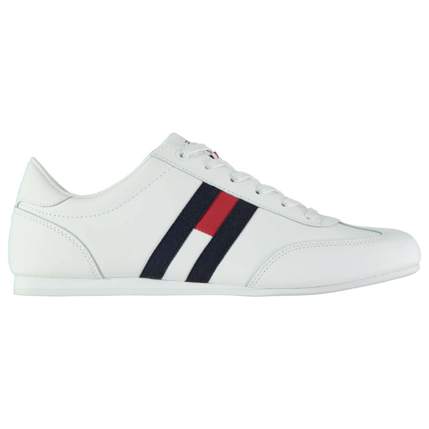 126f593b3abf Details about Mens Tommy Hilfiger Rusc Leather Trainers Low Shoes Tonal  Stitching New