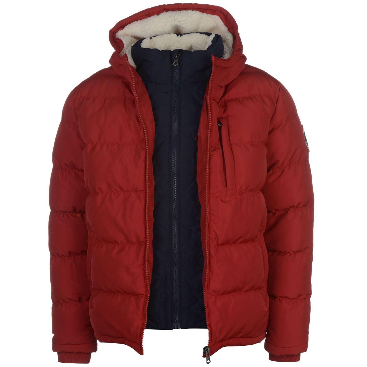 Soulcal Mens 2 Zip Bubble Jacket Padded Coat Top Hooded