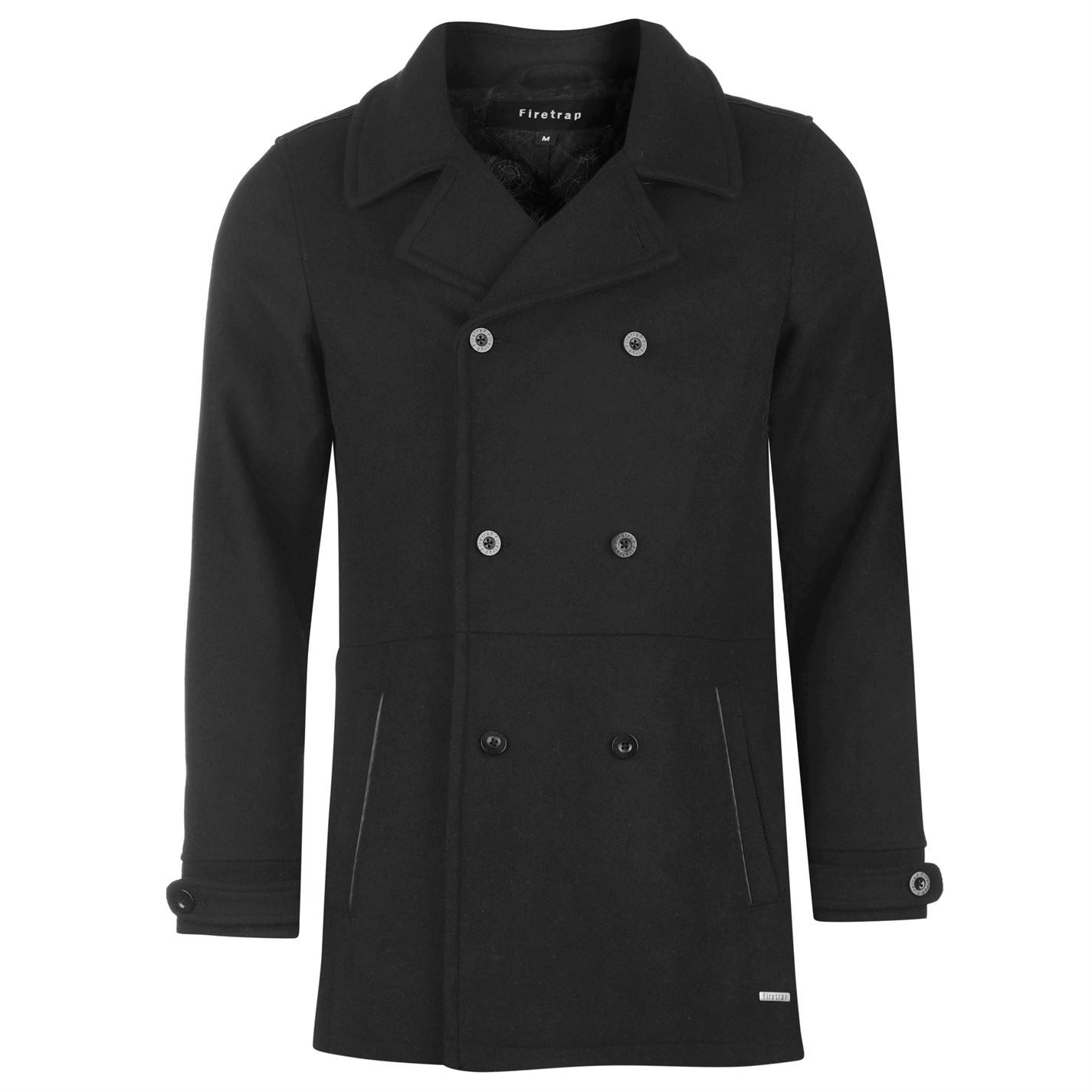Firetrap Mens Pea Coat Jacket Long Fold Over Collar Double ...