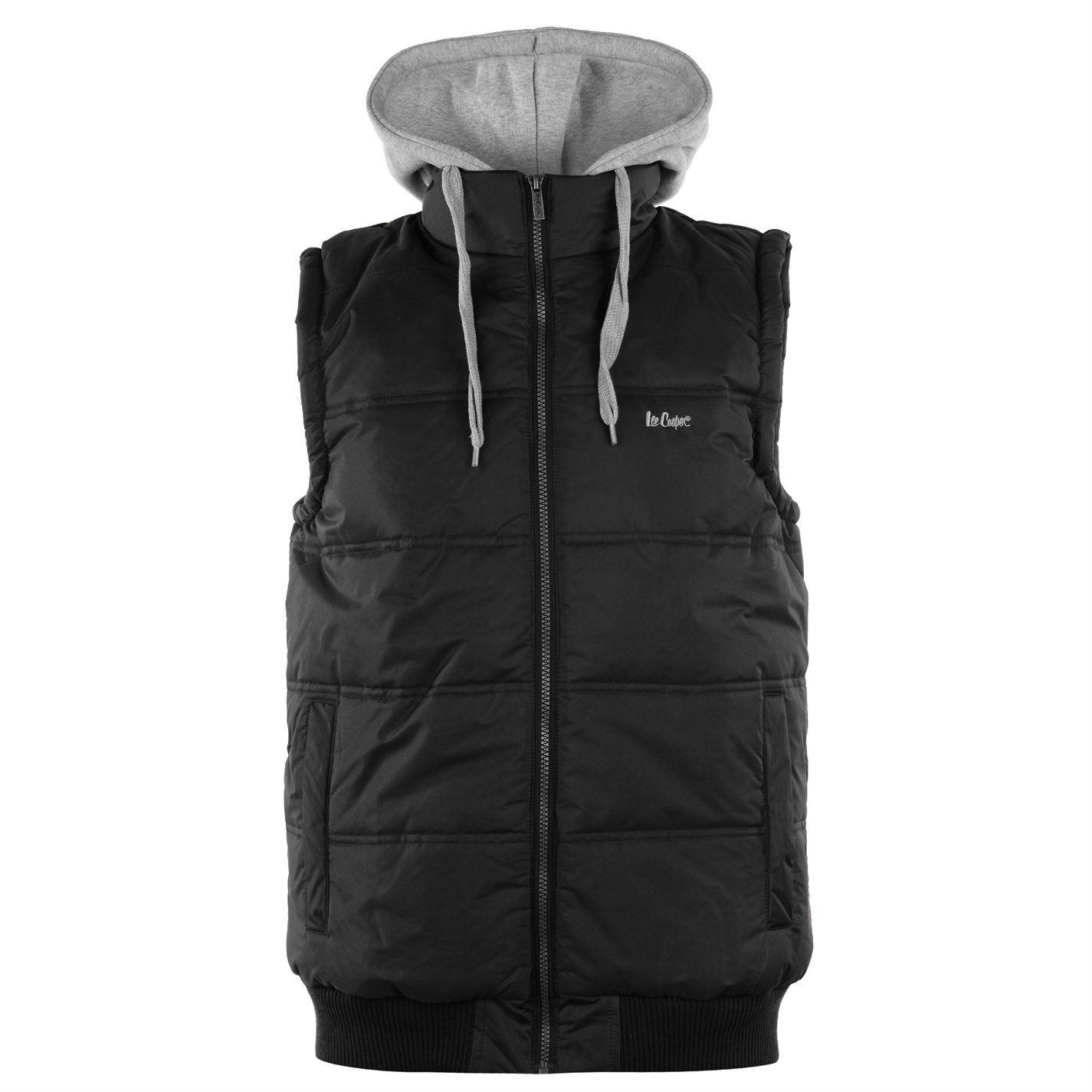 7cf52af440 Lee Cooper Mens Hooded Gilet Sleeveless Jacket Zip Full Winter Warm  Drawstring