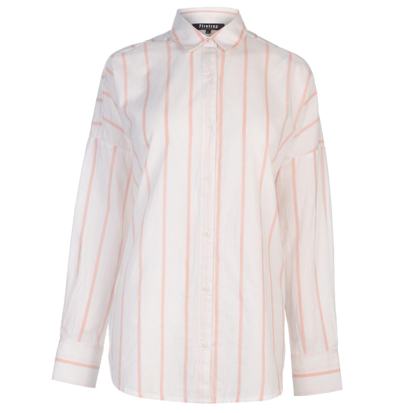 Firetrap-Womens-Blackseal-Stripe-Shirt-Long-Sleeve-Casual-Lightweight-Cotton